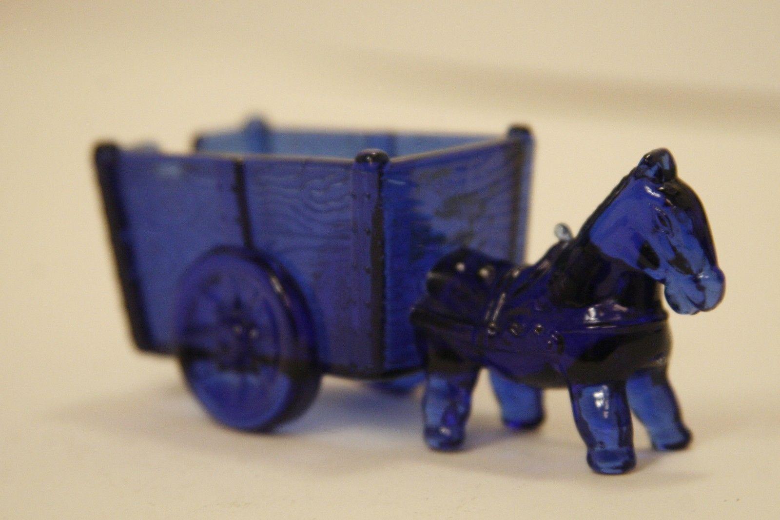 Drawn glass unique  Horse Donkey Cart Vintage