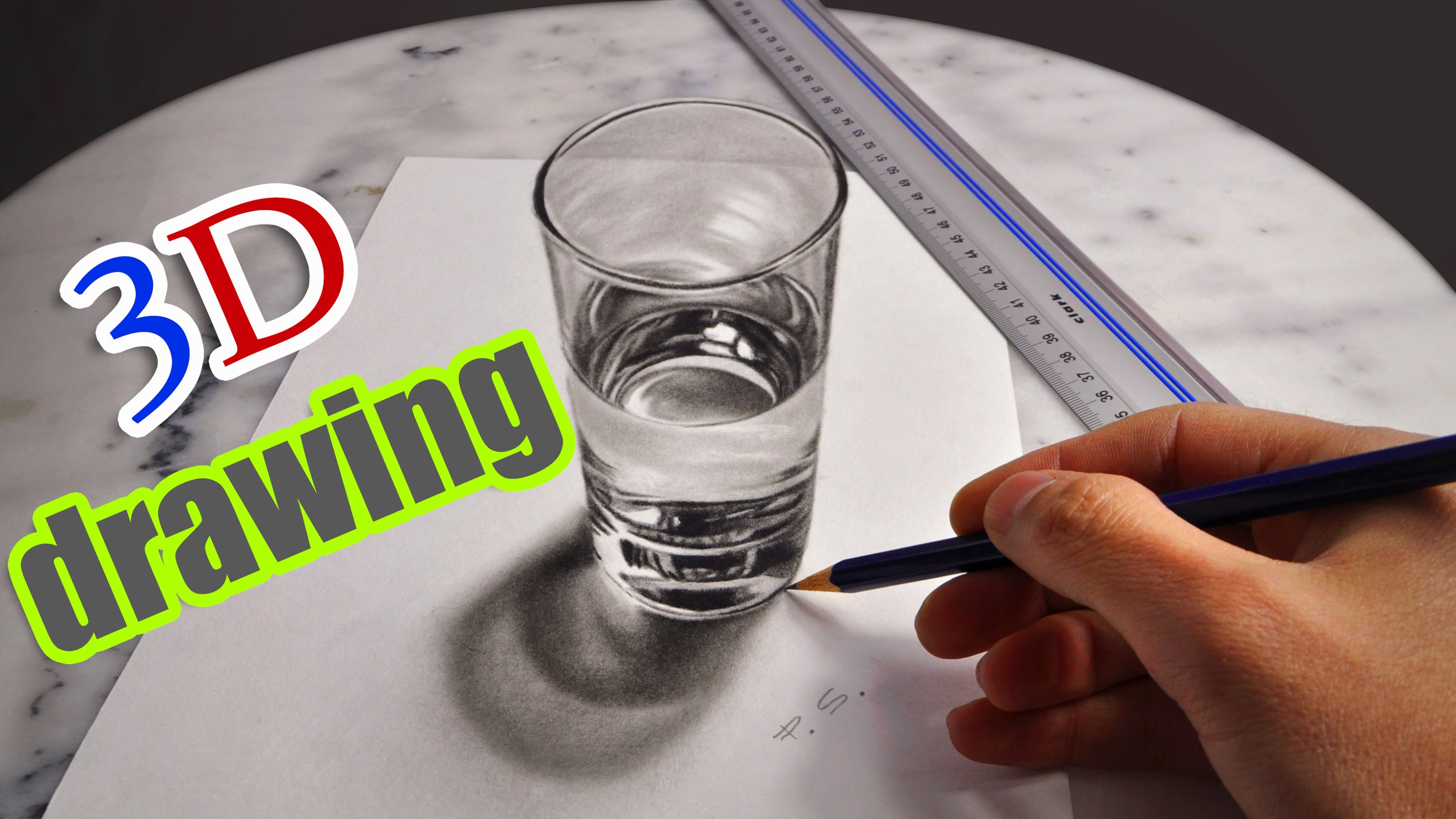 Drawn glasses realistic AMAZING of YouTube 3D Water/