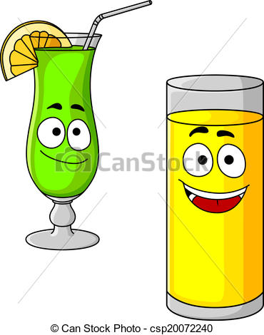 Drawn glasses glass juice Glasses Happy of Vector cartoon