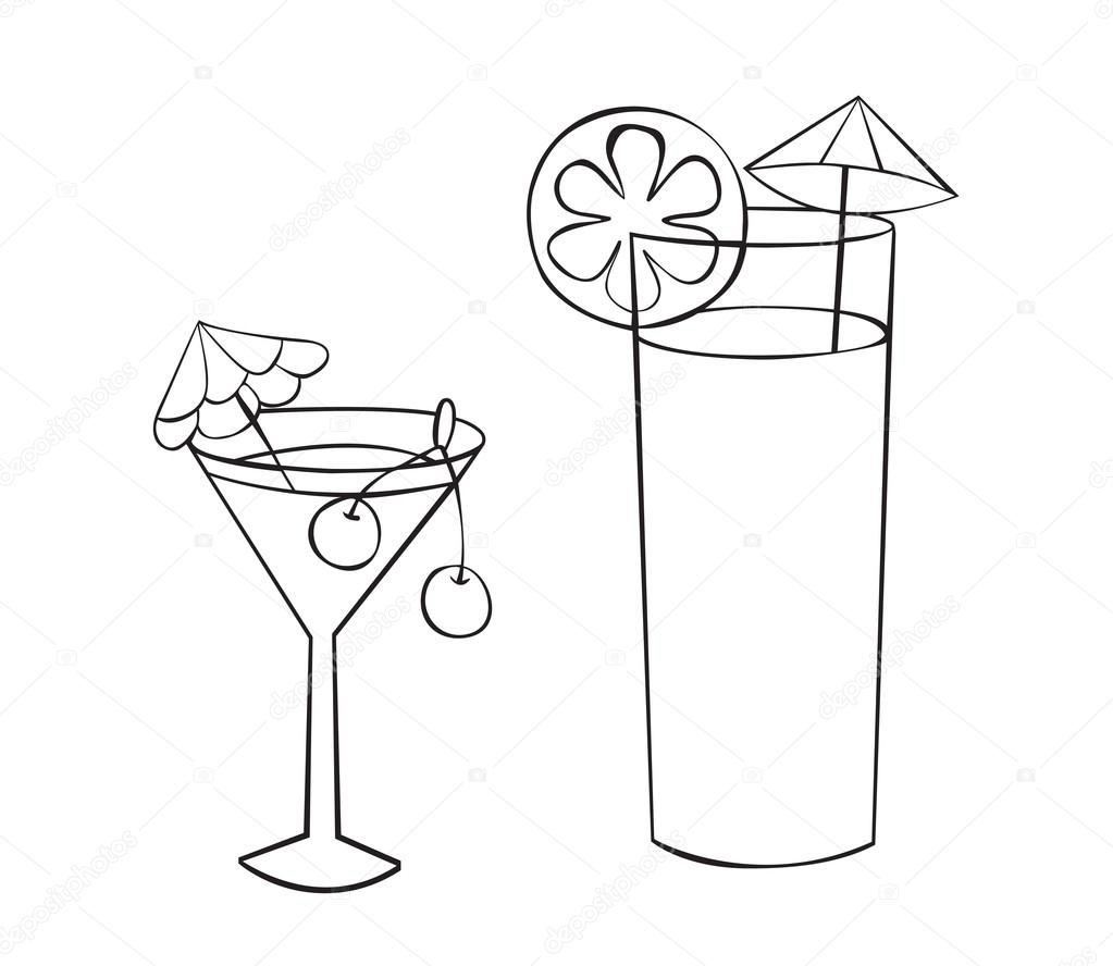 Drawn glasses glass juice Two drinks Drawing of Glass