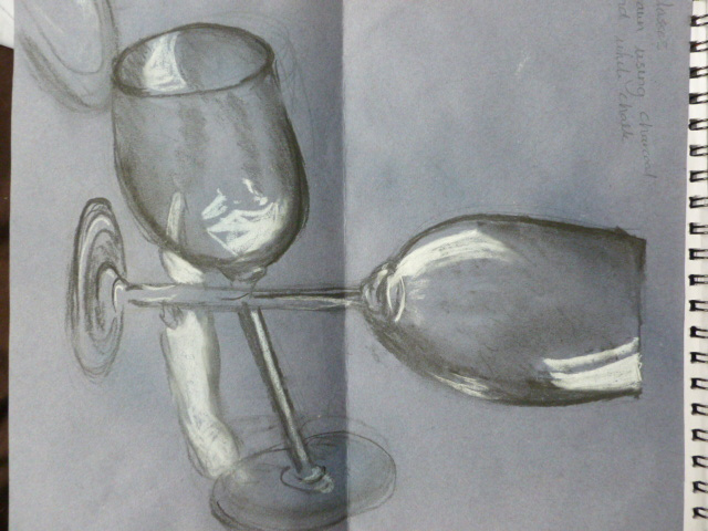 Drawn glasses glass object Glasses onto and where charcoal