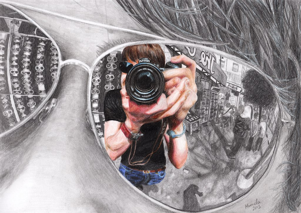 Drawn glasses mirror reflection Reflection withlove by marcela Reflection