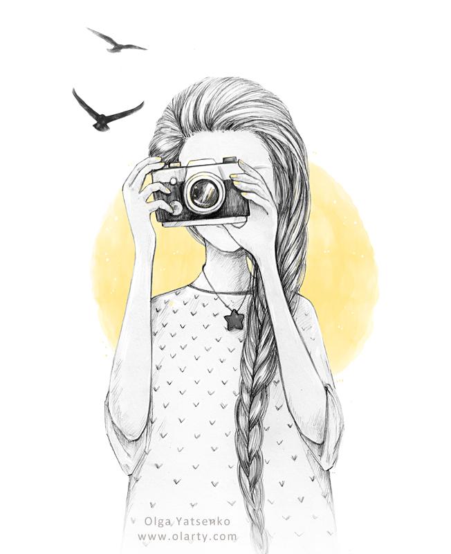 Drawn glasses scenery Artist illustration Yatsenko Drawing Girl