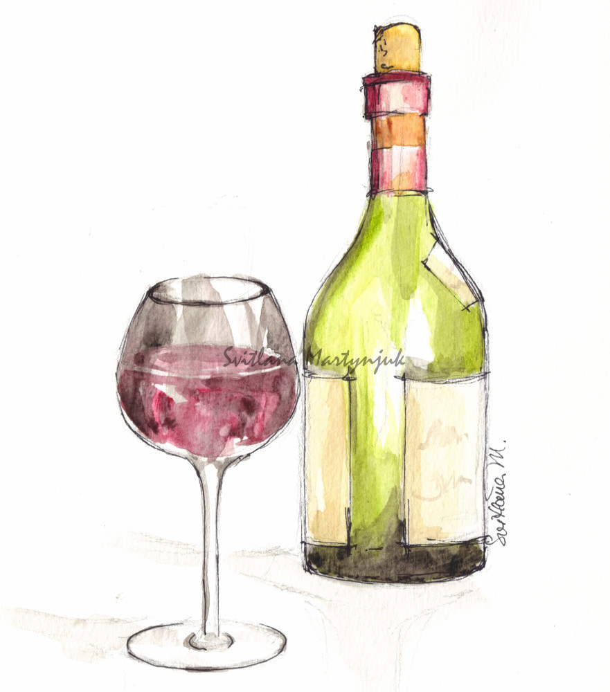 Drawn spectacles wine bottle Painting  Practice labels A
