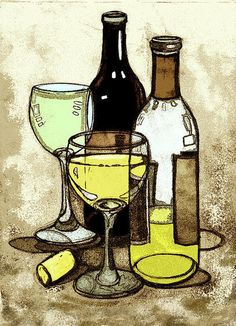Drawn spectacles wine bottle Paintings  illustration drawing watercolor