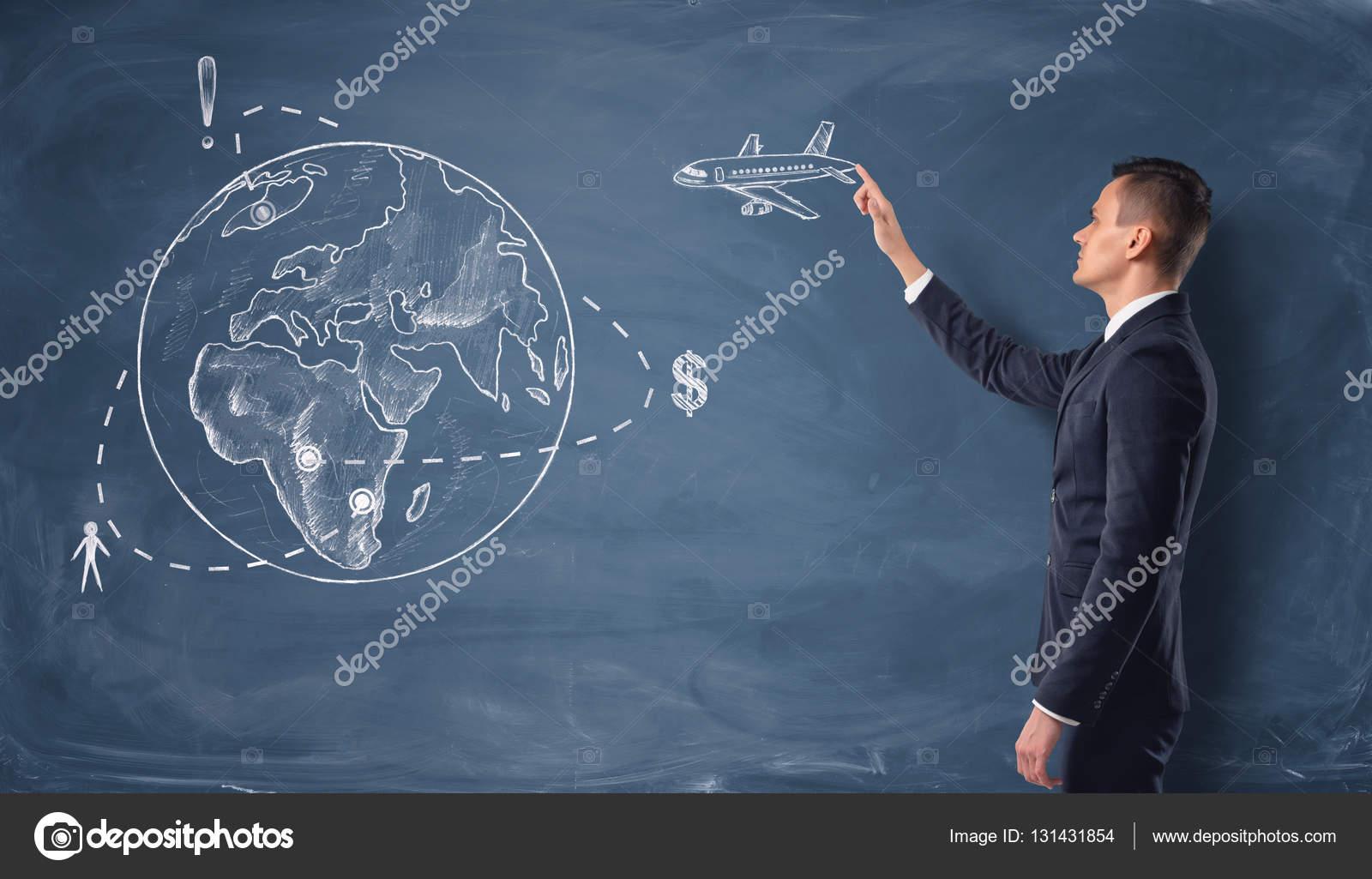 Drawn globe chalkboard With chalkboard on touching globe