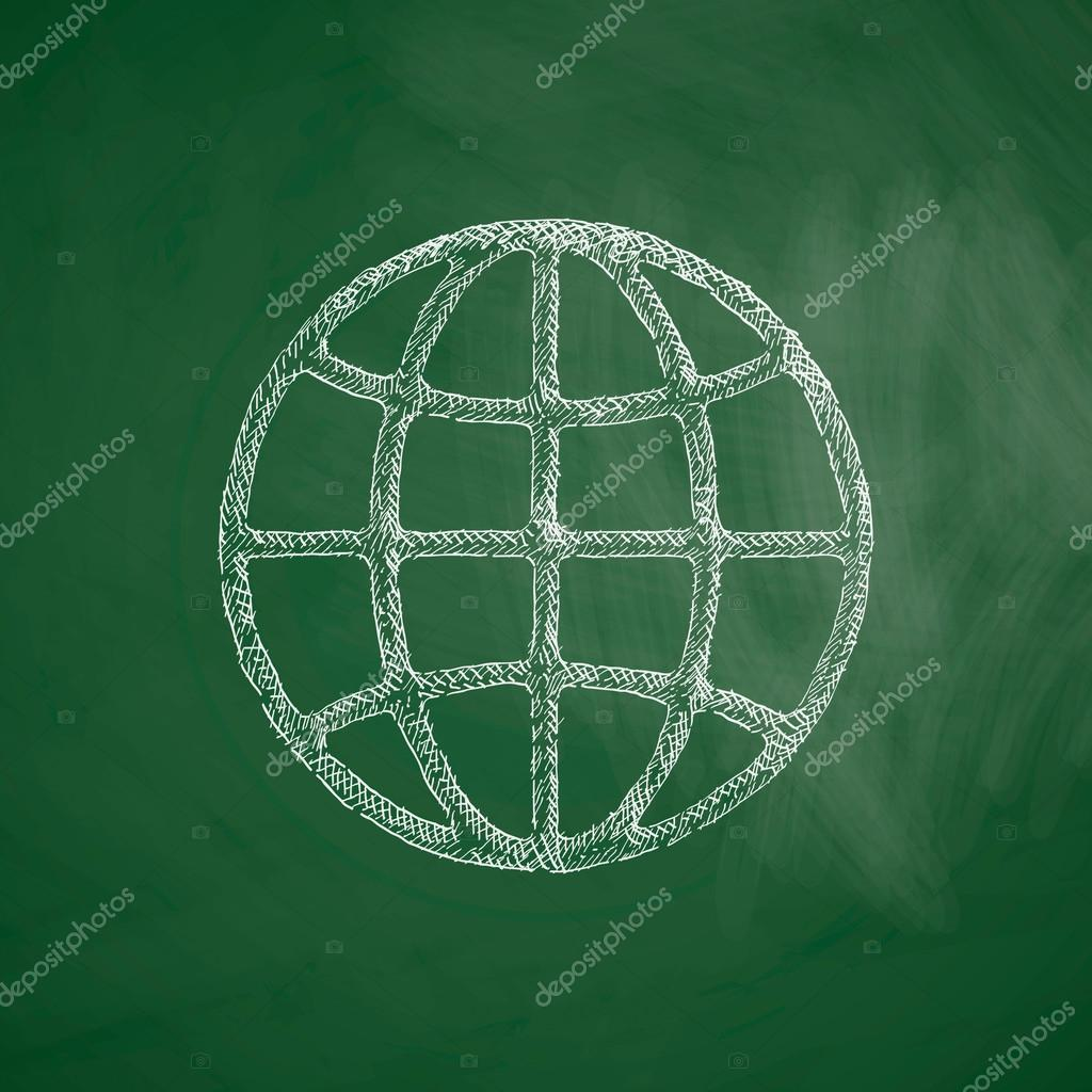 Drawn globe chalkboard Design illustration icon #90625752 drawn
