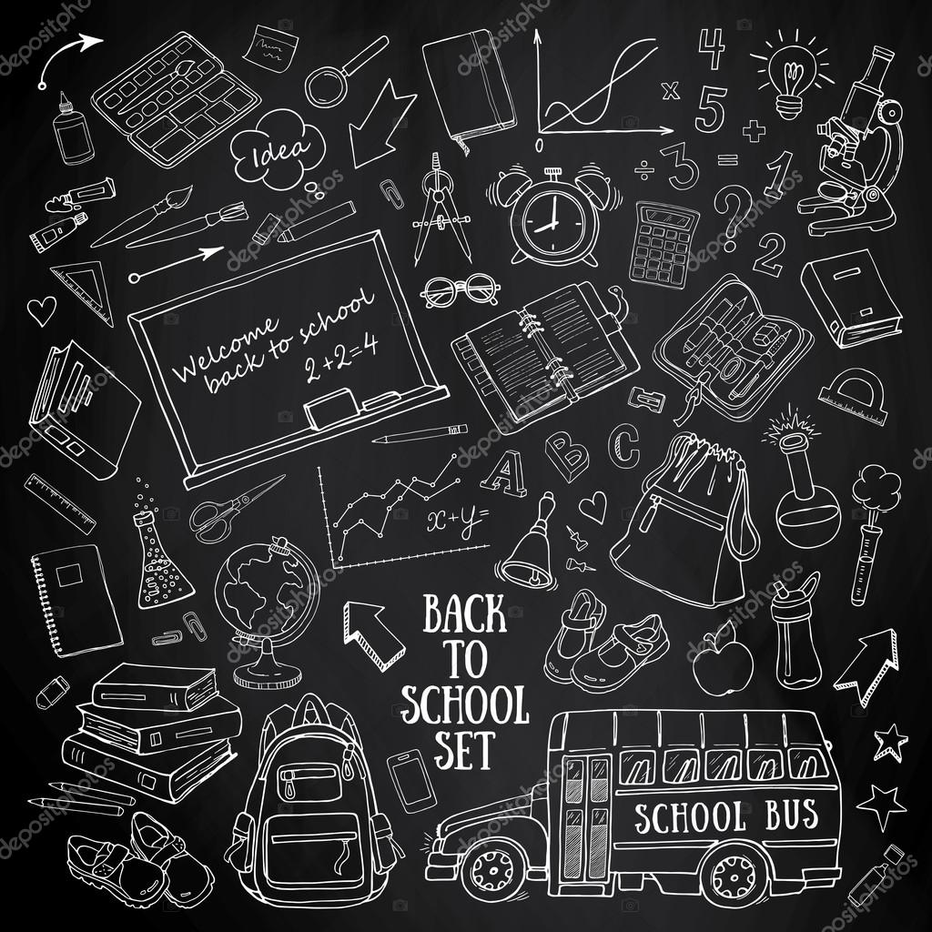 Drawn globe chalkboard Set with doodles Vector supplies