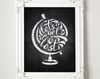 Drawn globe chalkboard Printable Art x or globe