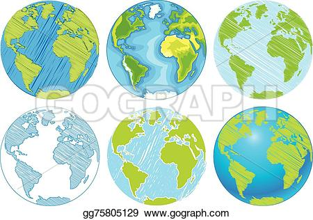 Drawn globe Earth Illustration Vector background Hand