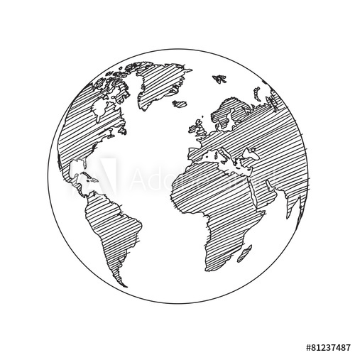 Drawn globe sketched Sketch vector Map sketch World