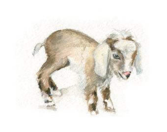 Drawn goat baby goat Goat Baby Etsy Farm Watercolor
