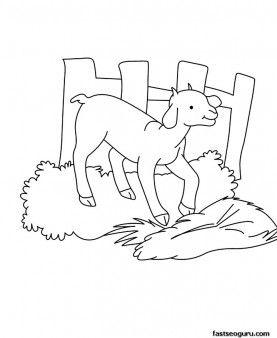Drawn goat craft Printable images page animal Kids