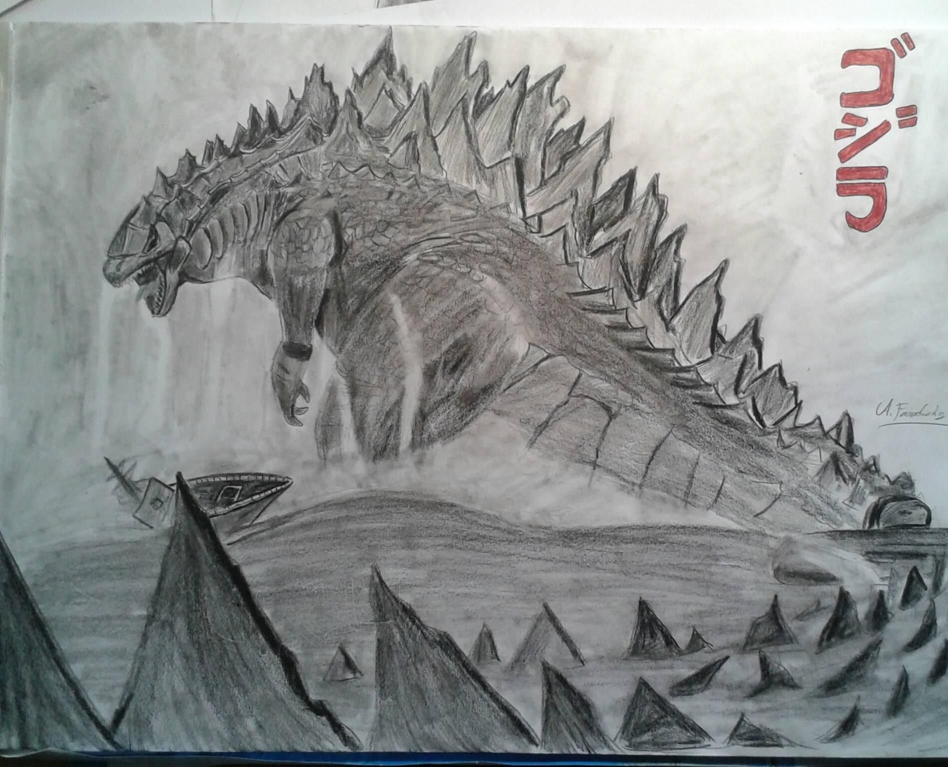 Drawn godzilla Drawing Godzilla learnart welcome! welcome!