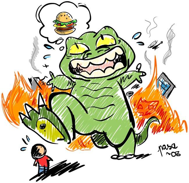 Drawn godzilla Kid by by Godzilla a