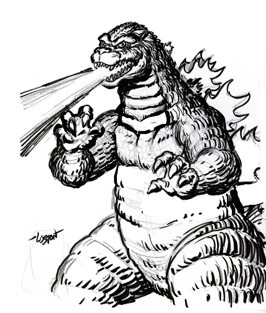 Godzilla clipart black and white Great pages Free Coloring godzilla
