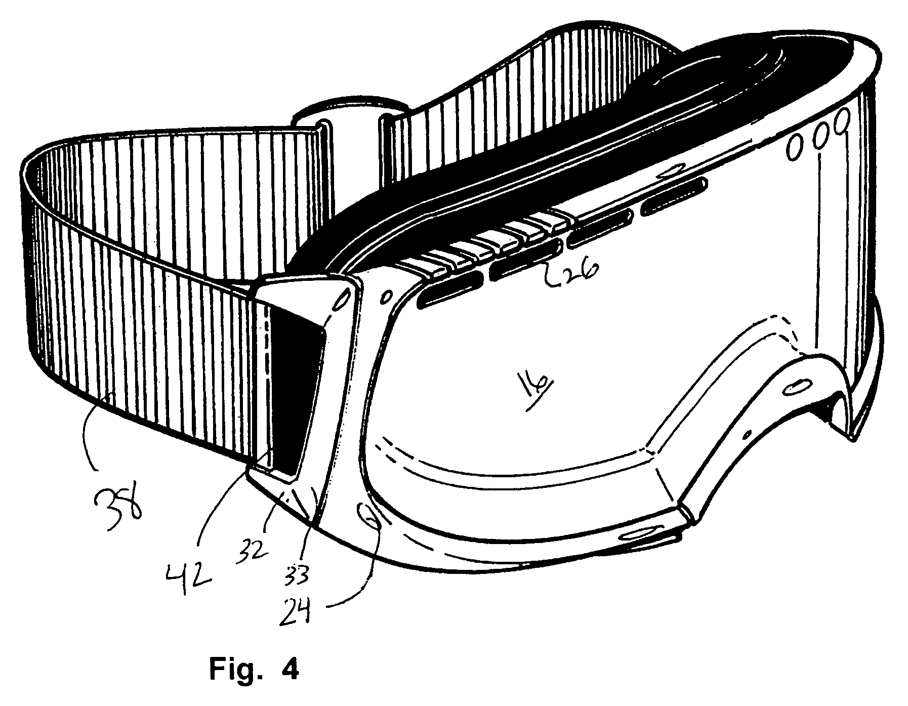 Drawn goggles Patent side Drawing improved vent