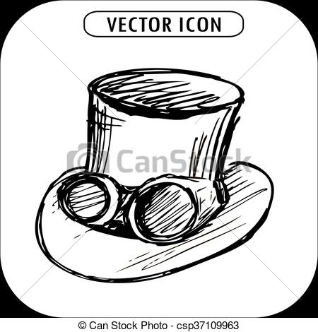Drawn top hat clip art Of top Vector hand steampunk