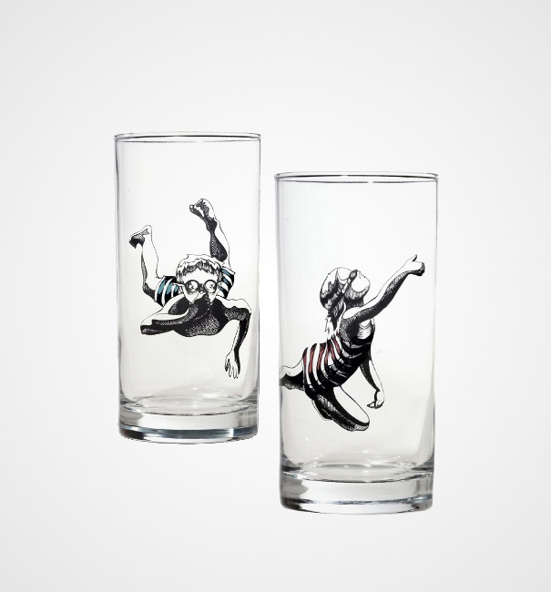 Drawn spectacles drinking glass Glasses Creative Panda Swimmers And