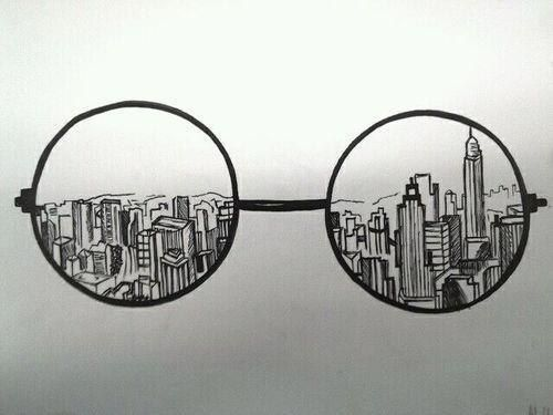 Drawn spectacles hipster Drawing city on de Hipster