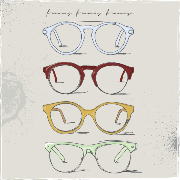 Drawn spectacles hipster Drawing Vector Vector Graphic —