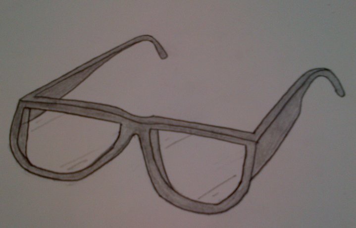 Drawn goggles pencil shading Biro shape drawing first the