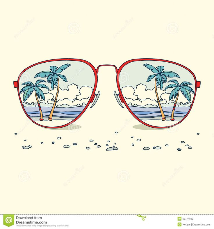 Drawn glasses scenery On the of palm Vector