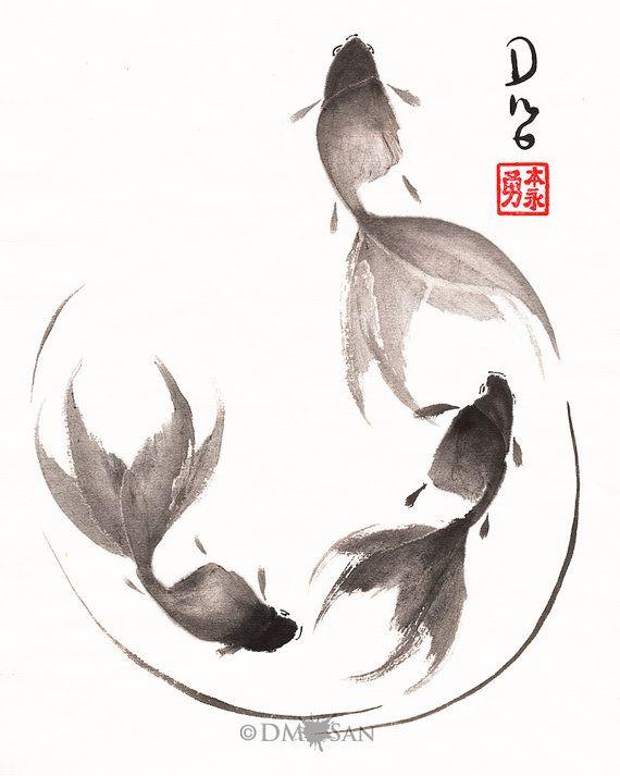 Drawn goldfish fish swimming Tattoos  TattooDifferent Awesome 8x10