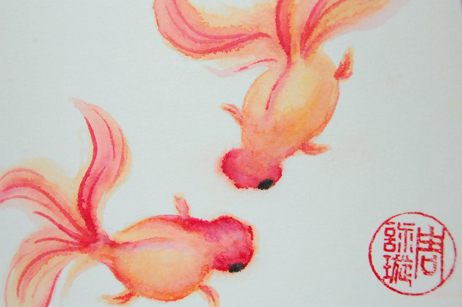 Drawn gold fish chinese Cheat I to goldfish so