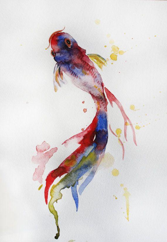Drawn gold fish chinese Koi Original Watercolor Fish MaryArtStudio