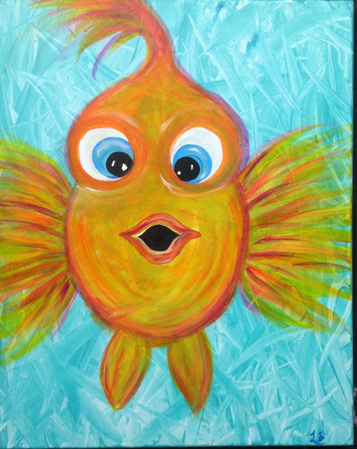 Drawn gold fish kid Painting for on of beginners