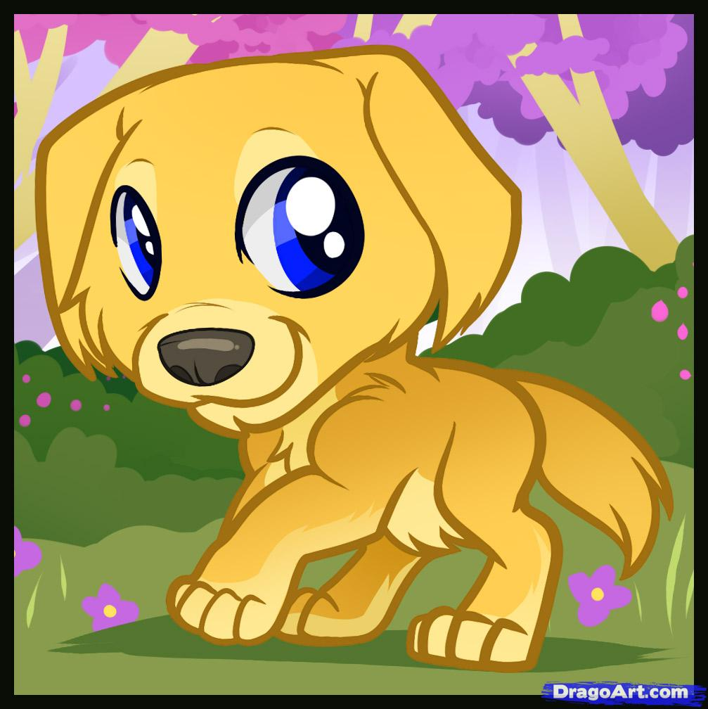 Drawn puppy golden retriever puppy Puppy  golden a Step