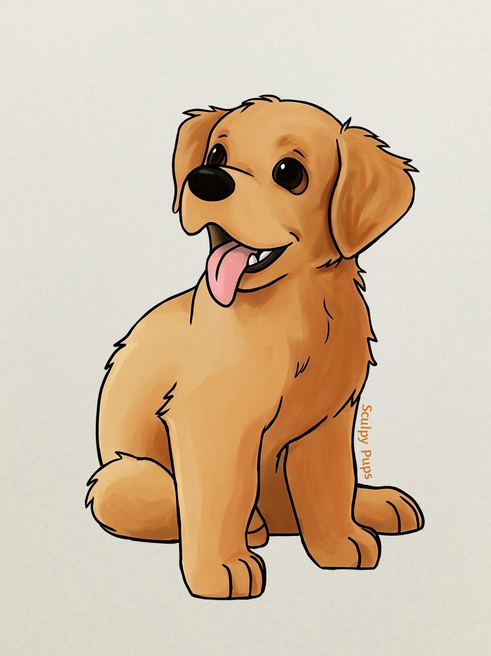 Drawn golden retriever chibi SculptedPups by SculptedPups by puppy