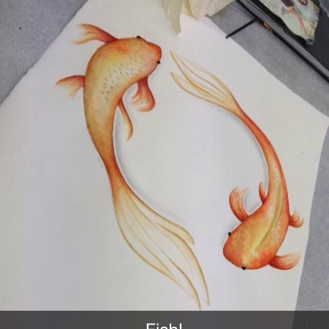 Drawn goldfish coloured fish #orange #drawing on #drawings #fish