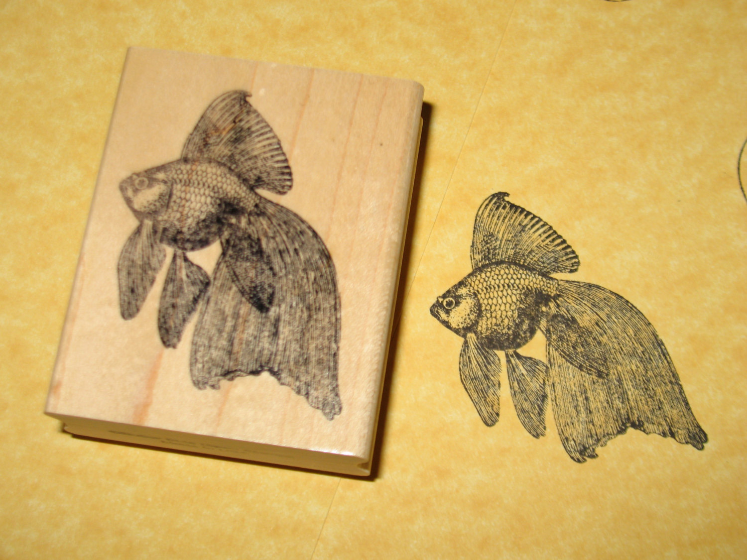 Drawn goldfish rubber Estimate Fantail Shipping from ButterSideDownStamps