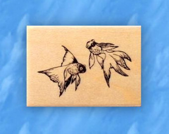 Drawn goldfish rubber Rubber fish stamp mounted or