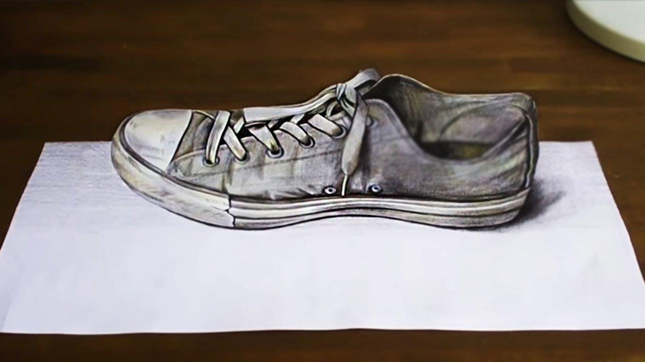 Drawn goldfish shoe ANAMORPHIC Pencils On Shoe ANAMORPHIC