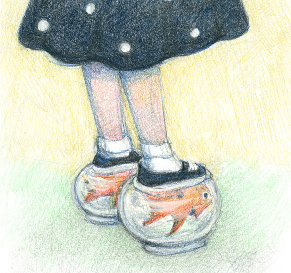 Drawn goldfish shoe Wins  With Shoes of