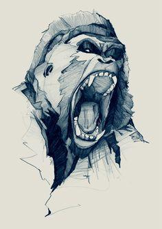 Drawn gorilla Con  illustration Google Posted