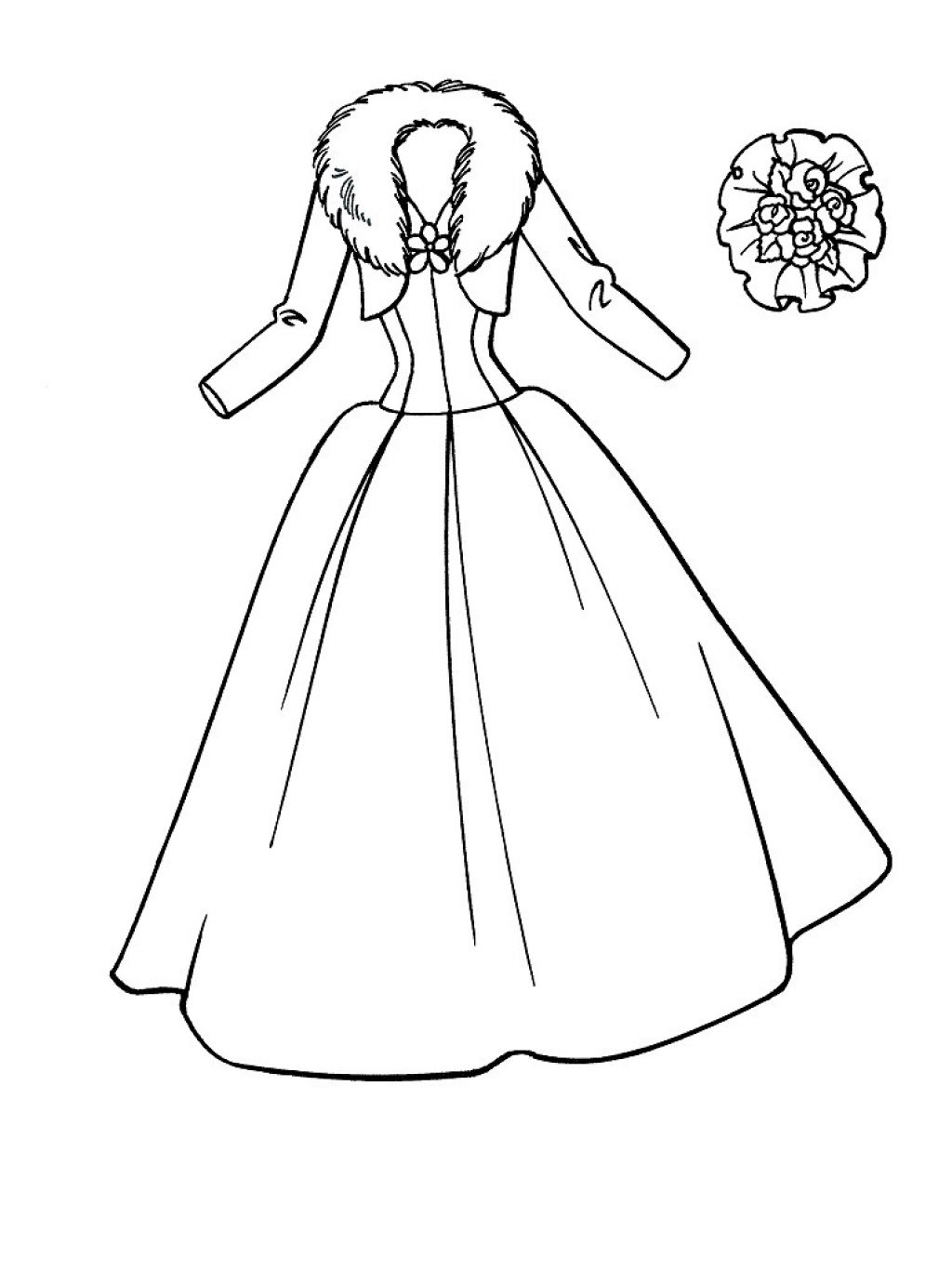 Drawn barbie frock Colouring Pages Dress Pages Dress