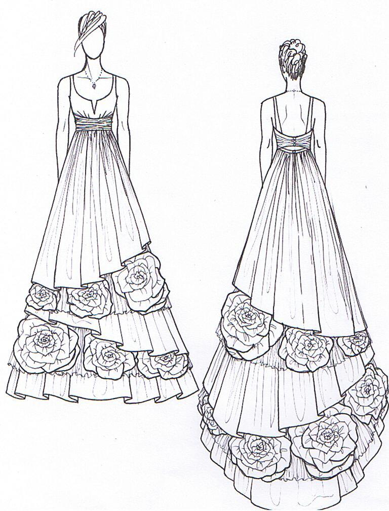 Drawn gown dress sketch Dress Dress Wedding Sketches Dresses