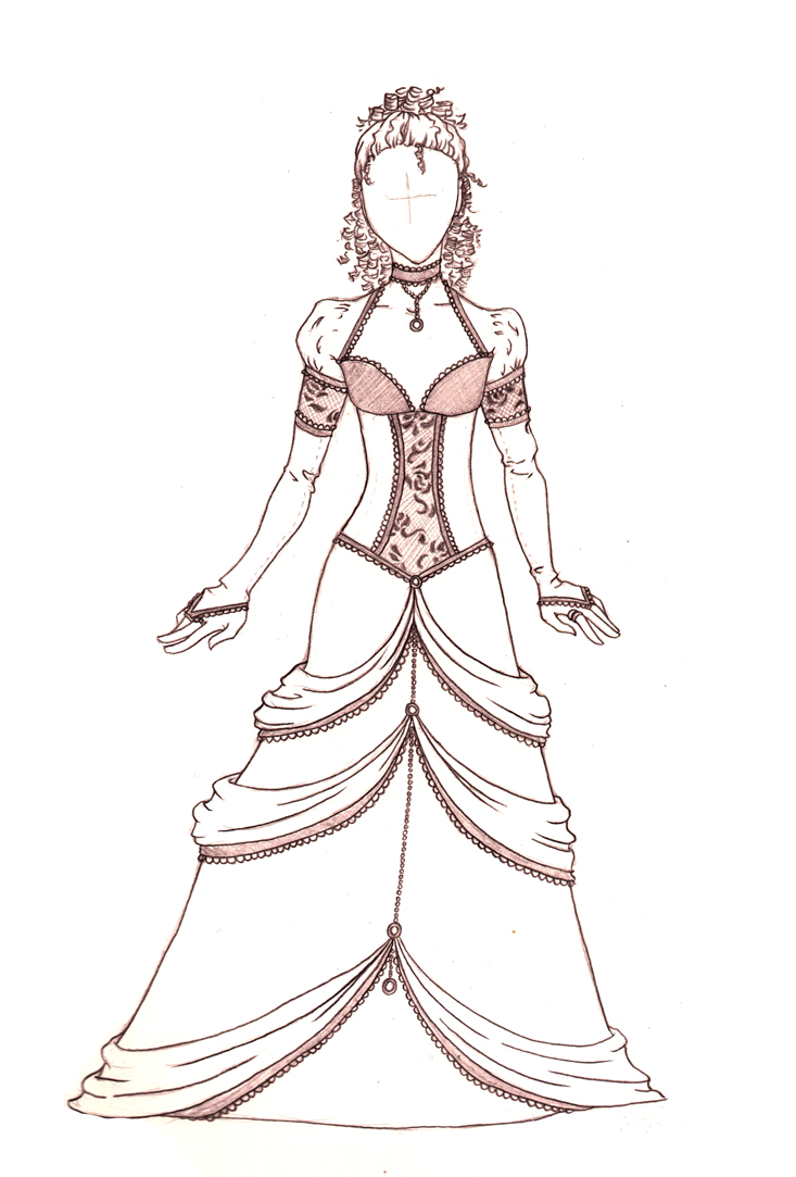Drawn gown dress sketch Designs on dress Prom drawings