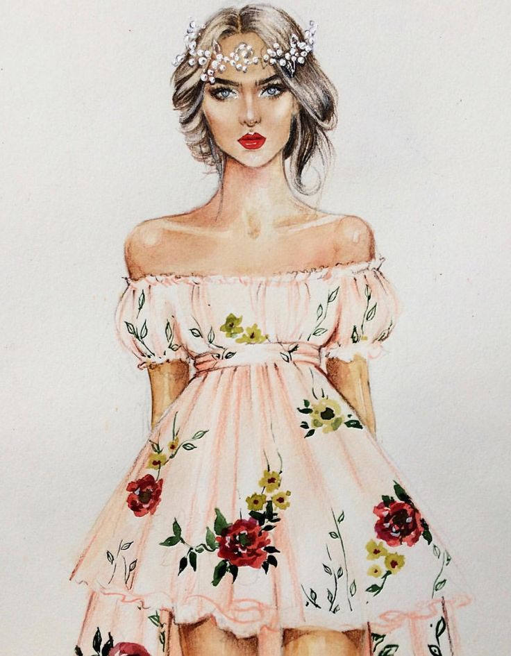 Drawn tears fashion model Illustration Dress Dress ideas sketches