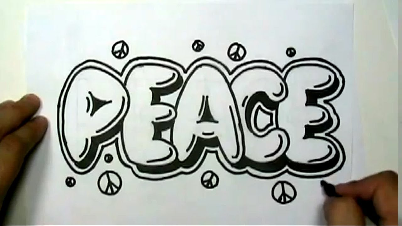 Drawn peace sign two finger In Letters Write PEACE in
