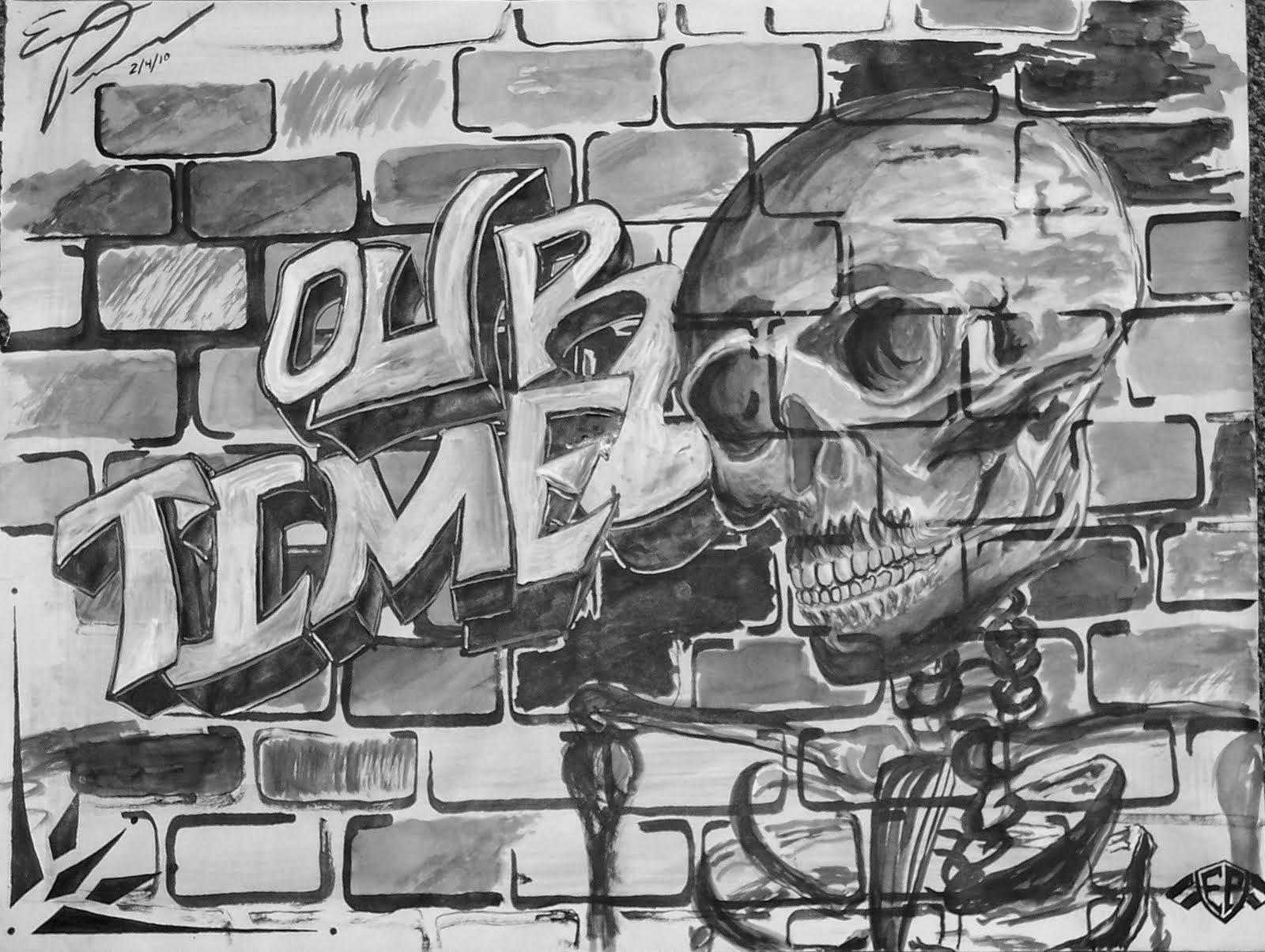 Drawn brick graffito brick wall Wall Drawing Wall: Brick Graffiti