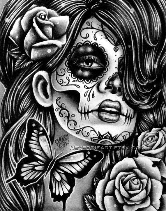 Drawn sugar skull dia de los muertos Skull HUGE Black Black Sugar
