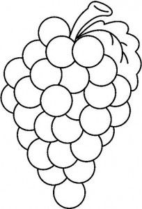 Grape clipart coloring page #2