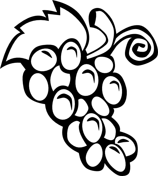 Grape clipart drawn Printable online draw Black FRUITS