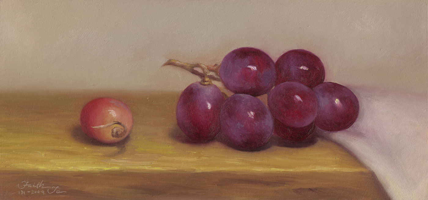 Drawn grapes realistic Oil by Grapes Paintings Painting