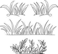 Sea Grass clipart black and white #4